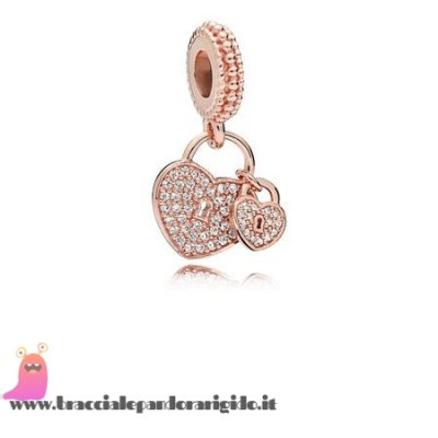 Italia Pandora Saldi Amore Locks Dangle Charm Pandora Rose Chiaro Cz